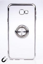 Telefon Kılıfı - Samsung Galaxy J4 Plus - Yüzüklü Şeffaf - Gümüş (TŞY-021)