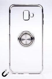Telefon Kılıfı - Samsung Galaxy J6 - Yüzüklü Şeffaf - Gümüş (TŞY-023)