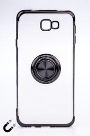 Telefon Kılıfı - Samsung Galaxy J7 Prime  - Yüzüklü Şeffaf - Siyah (TŞY-024)