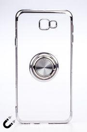 Telefon Kılıfı - Samsung Galaxy J7 Prime - Yüzüklü Şeffaf - Gümüş (TŞY-025)