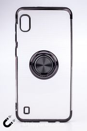 Telefon Kılıfı - Samsung Galaxy M10 ve A10  - Yüzüklü Şeffaf - Siyah (TŞY-026)