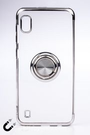 Telefon Kılıfı - Samsung Galaxy M10 ve A10 - Yüzüklü Şeffaf - Gümüş (TŞY-027)