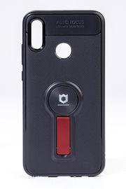 Telefon Kılıfı - Huawei P SMART 2019  - Mat Siyah - Bordo Ayaklı (TMS-031)