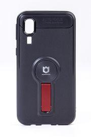Telefon Kılıfı - Samsung Galaxy A2 Core  - Mat Siyah - Bordo Ayaklı (TMS-041)
