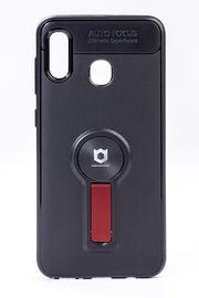 Telefon Kılıfı - Samsung Galaxy A20 - A30  - Mat Siyah - Bordo Ayaklı (TMS-051)