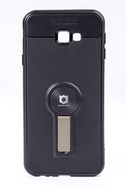 Telefon Kılıfı - Samsung Galaxy J4 Plus  - Mat Siyah - Gül Kurusu Ayaklı (TMS-068)
