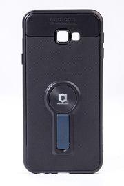 Telefon Kılıfı - Samsung Galaxy J4 Plus - Mat Siyah - Petrol Mavisi Ayaklı (TMS-069)