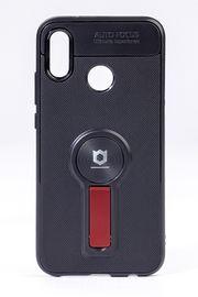 Telefon Kılıfı - Huawei P20 Lite   - Mat Siyah - Bordo Ayaklı (TMS-036)