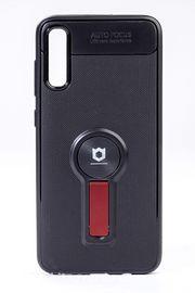 Telefon Kılıfı - Samsung Galaxy A70  - Mat Siyah - Bordo Ayaklı (TMS-061)