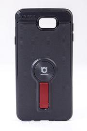 Telefon Kılıfı - Samsung Galaxy J7 Prime  - Mat Siyah - Bordo Ayaklı (TMS-076)