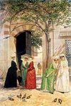 Cami Önünde Kadınlar / Osman Hamdi Bey (OHB 012-50x75) (Çerçevesiz)