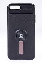 Telefon Kılıfı - Apple iPhone 7 Plus-8 Plus  - Mat Siyah - Gül Kurusu Ayaklı (TMS-013)